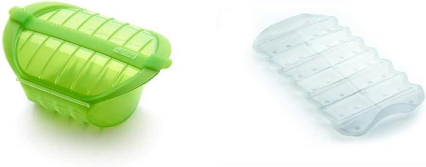 Lékué Ogya 1-2 verde Estuche Vapor, silicona platino, Personas + Bandeja multifuncion transparente BLANCA, Silicona, 19 x 10.5 x 2 cm: Amazon.es: Hogar