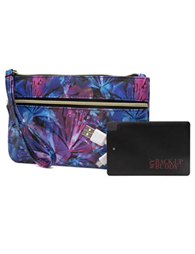 Mundi Back Up Buddy Womens Wallet Wristlet RFID Blocking With Portable External Phone Charger (Technicolor Floral)