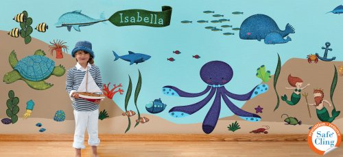 Amazon.com: My Wonderful Walls Ocean Wall Stickers For Under The Sea Theme  Wall