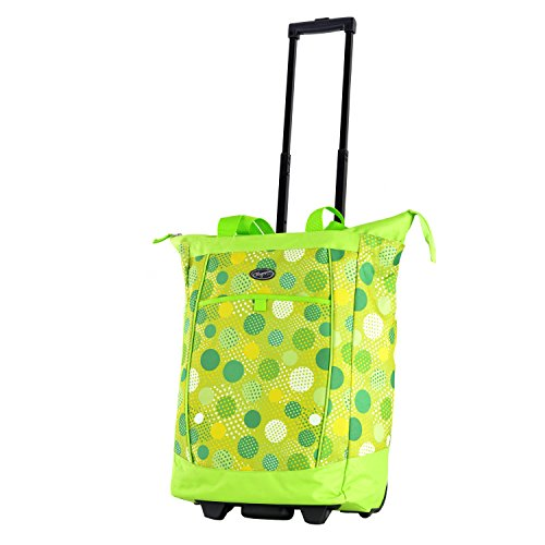 Olympia Fashion Rolling Shopper Tote - Lime Polka Dots, 2300 cu. in. (Lime Green Book Bags)