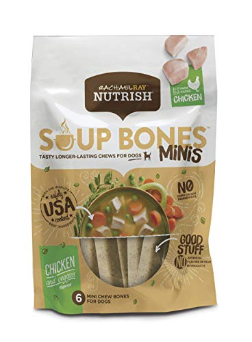 Rachael Ray Nutrish Soup Bones Minis Dog Treats, Real Chicken & Veggies Flavor, 6 Bones, 4.2 Oz. Bag (Pack Of 8)