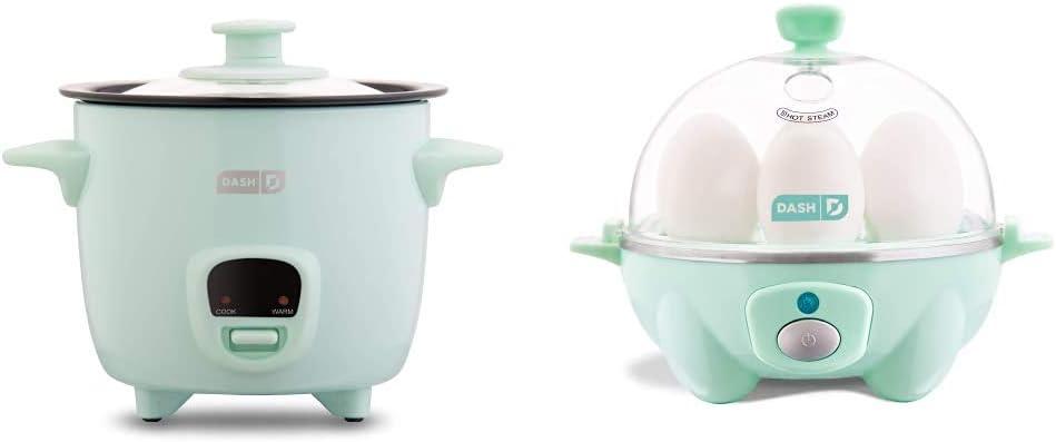Dash DRCM200GBAQ04 Mini Rice Cooker Steamer, Aqua & Rapid Egg Cooker: 6 Egg Capacity Electric Egg Cooker for Hard Boiled Eggs, Poached Eggs, Scrambled Eggs, or Omelets - Aqua