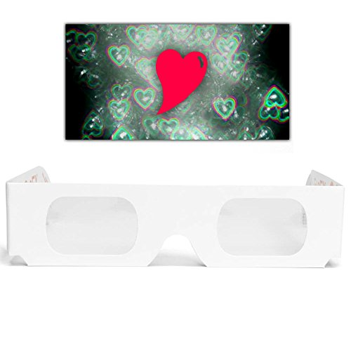 5 GloFX Heart Effect Paper Diffraction Glasses [5 Pack] - SEE HEARTS! 3D Holographic Fireworks Kids Bulk Cardboard Rave EDM Party Sunglasses ()