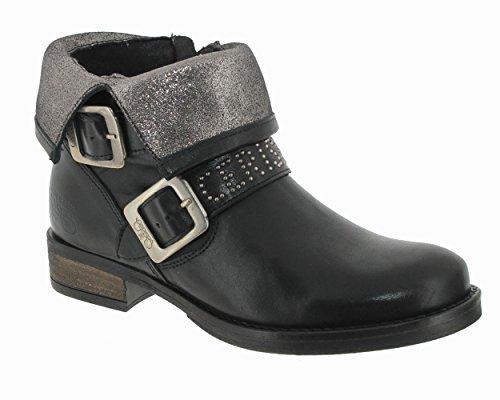 Leather Cerises bottine lisse des Femme noir Le Janis Temps xqAZn6I