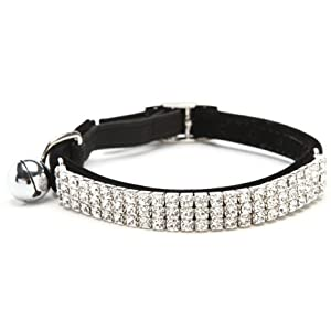 CHUKCHI Soft Velvet Safe Cat Adjustable Collar Bling Diamante With Bells,11 inch for small dogs and cats (Black)