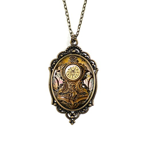 Steampunk Antique Clock Cameo Necklace Ornate Metal Brass Filigree Frame Setting on 18