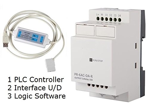 PLC Controller 110V 120V 220V AC, w Software Learn Automation, 4 AC input, 2 Relay Output
