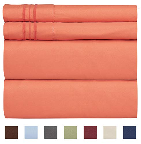 Queen Size Sheet Set - 4 Piece Set - Hotel Luxury Bed Sheets - Extra Soft - Deep Pockets - Easy Fit - Breathable & Cooling - Wrinkle Free - Comfy - Coral Bed Sheets - Queens Sheets - 4 PC