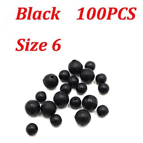6mm 100 x black soft rubber shock beads