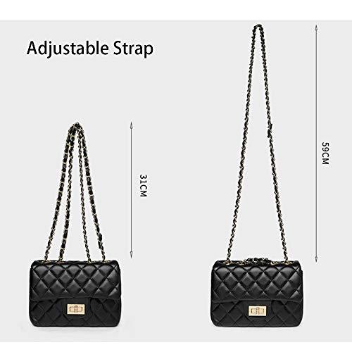Negra Solapa Bolsa Acolchada Bolsos Para Mini Pequeña Cadena Sheli Vintage De Crossbody Acolchado Mujer 7O5pq