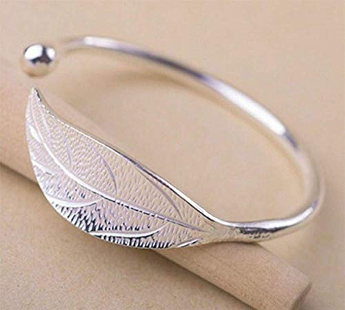 Weishu 925 Sterling Silver Leaf Feather Bracelets & Bangles for Women Wedding Gift Adjustable Bracelet Birthday Leaf-Shaped Cuff Jewelry