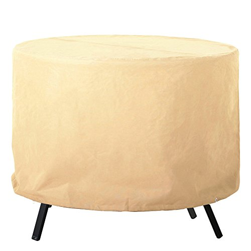 Grand Patio Round Patio Table Cover, Weather-Resistant Patio Table and Chair Covers, Waterproof and Durable Patio Dining Set Cover, Small Size, Beige