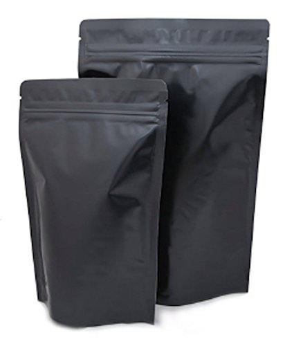 Assorted Sizes Matte Black Stand Up Airtight Zipper Pouches