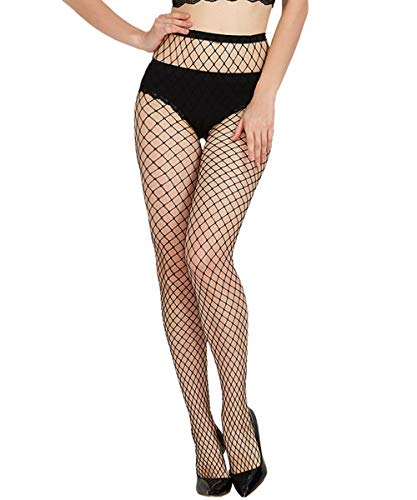 Buitifo Womens Fishnet Tights Suspender Pantyhose Thigh-High Stockings Lingerie Plus Size Black (Black 101)