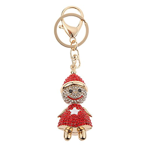 MagiDeal Fashion Rhinestone Cartoon Snowman Shape Keychain Key Ring Bag Charm - Red (Charm Red Snowman)