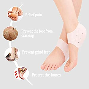 Plantar Fasciitis Heel Cushion Foot Sleeve(2 Pairs) - Breathable Protective Silicone Heel Protector to Instantly Relieve Pain and Pressure -Protect Bone & Heel Spurs (2 Pairs:(4 pcs))