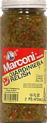 Marconi Relish, Hot Giardiniera 16.0 OZ(Pack of 3) (Relish Giardiniera)