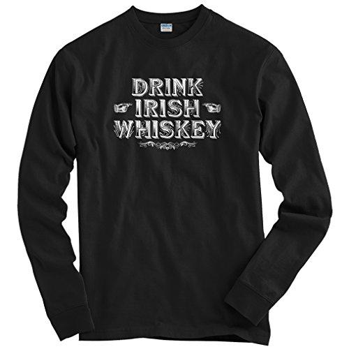 (Smash Transit Men's Drink Irish Whiskey Long Sleeve T-Shirt - Black, Large)