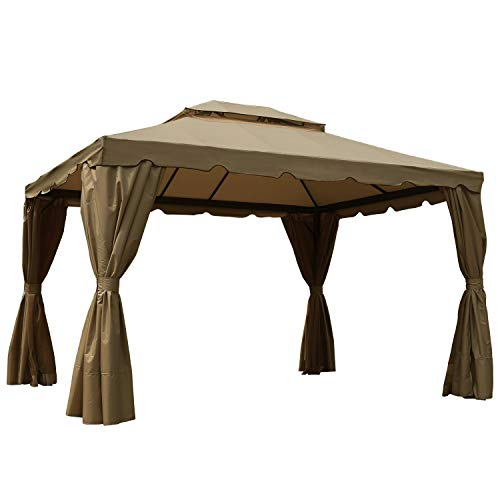 MasterCanopy 10x12 Patio Rome Gazebo Canopy Soft Top with Mosquito Netting and Walls, GHGM-008(Coffee-Cream)