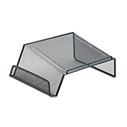Phone Mesh Stand, w/ Side Compartment, Durable Steel, Black