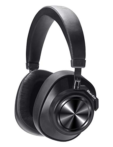 【2019 New Upgraded】 Bluedio T7 Bluetooth Headphones Custom Active Noise Canceling Over Ear, 57mm Driver Hi-Fi Stereo & 30Hrs Playtime, Wireless Headsets with Mic for PC/Cellphone/Travel/Work