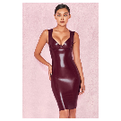 Clothing : Bodycon Dresses : 'Christalina' Plum Latex Cut Out Dress