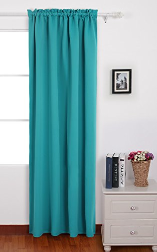 Deconovo Teal Blackout Curtains Rod Pocket Drapes and Curtains Thermal Insulated Curtains for Kids Bedroom 42 W x 63 L Aqual Blue/Teal 1 Panel