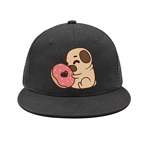BVBN Pug Puppy Bulldog Boston Terrier Donuts Unisex Mesh Flat Cap Adjustable Snapback Hats