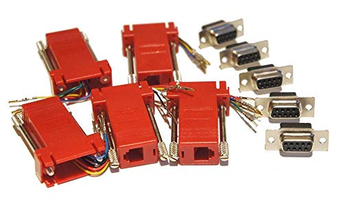 - Pack of 5 Red D-sub 9 Pin DB9 Female to RJ12 6p6c Female Modular Connector Jack Serial Adapters