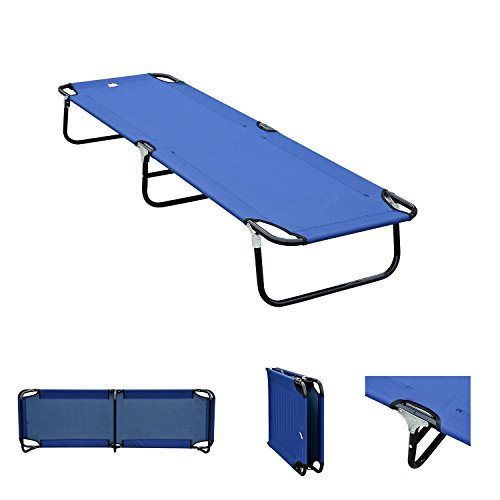 Outdoor Portable Army Military Folding Camping Bed Cot Camp Hiking Blue