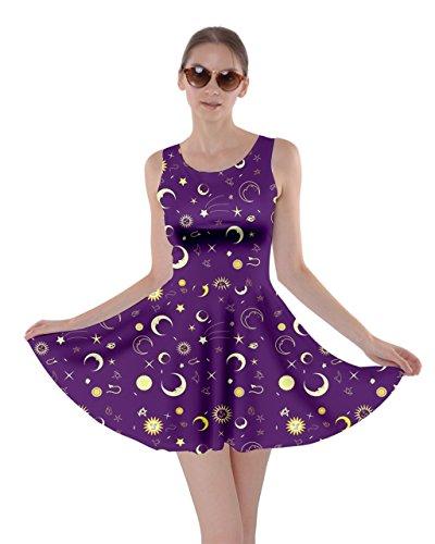 - CowCow Womens Purple Fun Night Sky The Moon and Stars Skater Dress, Purple - XS