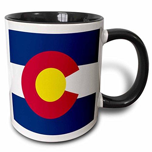 3dRose 158296_4 Flag Of Colorado Mug, 11 oz, Black
