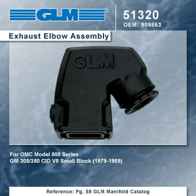 Exhaust Omc Parts (OMC 800 V8 EXHAUST ELBOW GM V8 | GLM Part Number: 51320; OMC Part Number: 909863)