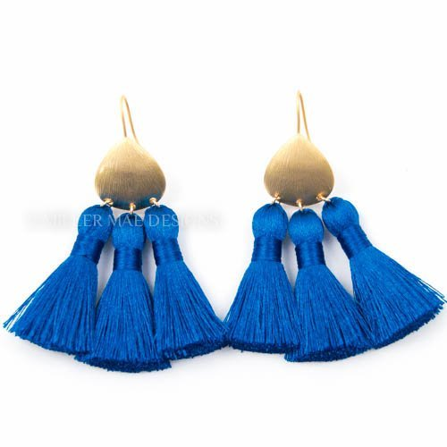 Royal Blue Multi-Tassel Bohemian Statement Earrings - 2.5 Inches Long Handmade Drop Earrings by Miller Mae Designs