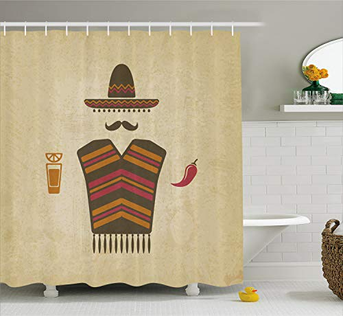 (Lunarable Mustache Shower Curtain, Authentic Mexican Conceptual Elements of Tequila with Lime Poncho and Chili Pepper, Cloth Fabric Bathroom Decor Set with Hooks, 70 inches, Pale Cream)