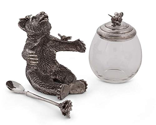 (Vagabond House Pewter Metal Bear Holding a Glass Honey Pot and Serving Spoon)