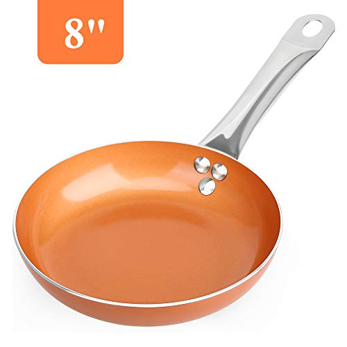 SHINEURI 8 inch Fry Pan, Nonstick Omelet Pans - Perfect for Stir fry,Sauce & Baking, CompatibleforInduction, Gas,Electric&Stovetops, Perfect for 2 Person Meal (Copper)
