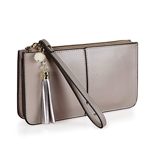 - FERRISA Women Leather Small Wristlet Purses, Smartphone Wallets Clutch purse with Card Holder (Light Khaki)