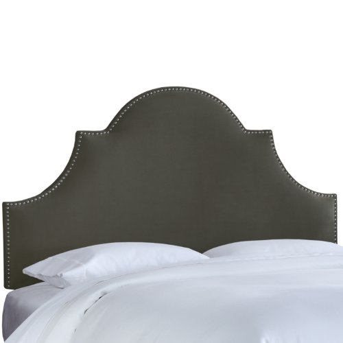 Skyline Furniture Nail Button High Arch Notched Headboard, Full, Velvet Pewter