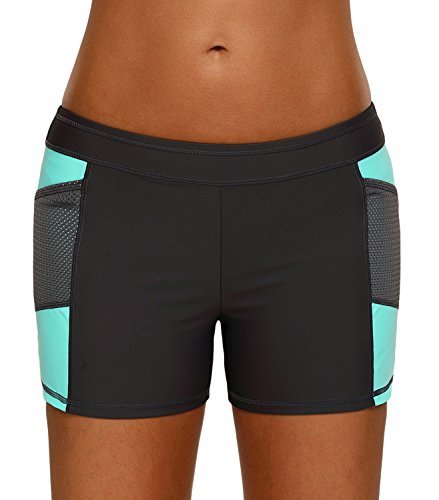 Bulawoo Women's Color Block Wide Waistband Swim Shorts Trunks Tankini Bottoms Boy Short Swimsuit Panty Large Size Mint