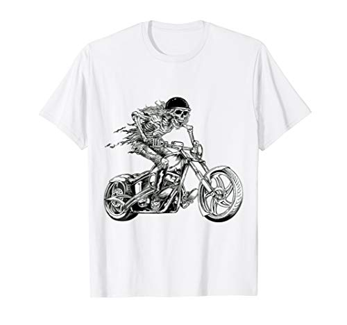 Halloween Motorcycle Rider Graphic Skull Design Tshirt ()