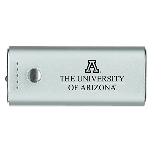 University Of Arizona  Portable Cell Phone 5200 Mah Power Bank Charger  Silver