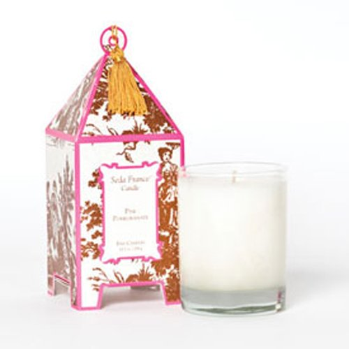 Seda France Classic Toile Pink Pomegranate Pagoda Candle
