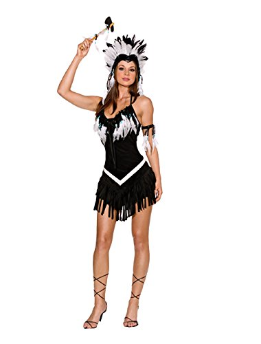 [Dreamgirl Women's Tribal Princess Costume,Black/White, Small] (Womens Western Costumes)