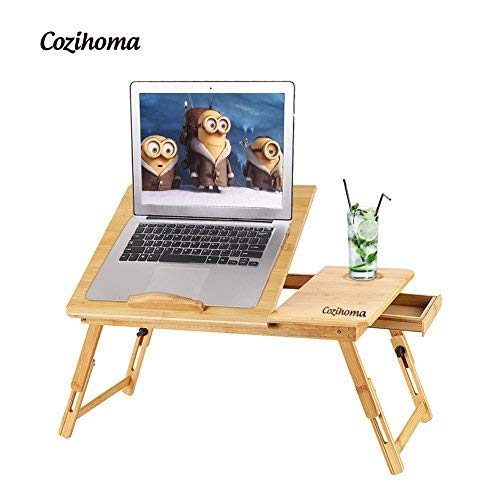 (Cozihoma Laptop Desk Bamboo for Bed and Sofa, Portable Adjustable Laptop Desk Table Stand Up/SitingFoldable Breakfast Serving Bed Tray with Drawer, Ergonomics Design)