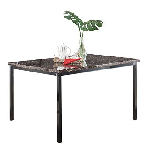 Kings Brand Furniture Black Metal/Marble Finish Dining Dinette – Kitchen Table