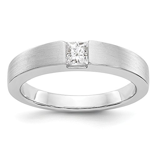 JewelrySuperMart Collection 1/3 CT 14k White Gold AA Diamond Men's Band. 0.33 ctw. Size 12