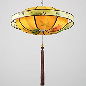 ZnzbztChina wind new Chinese lanterns fabrics hand painted chandeliers retro Living Room Restaurant The Restaurant aisle vellum light, 80 cm diameter