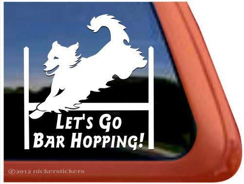 Golden Retriever Agility - Vinyl Sticker Let's Go Bar Hopping! Agility Dog Agility Golden Retriever Safe Decor for Car Bumper Door Window Laptop Decor Decal BT2768