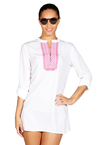 Fuchsia Embroidery - Mott50 Women's Annie Athletic Dresses, X-Large, White Fuchsia Embroidery